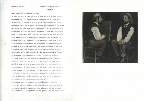 Carta de José Barrias enviada a Julião Sarmento, Novembro 1978. Folha 1 e 2 de 6. Agradeço a José Barrias e a Julião Sarmento pela autorização para tornar esta carta de conhecimento público.